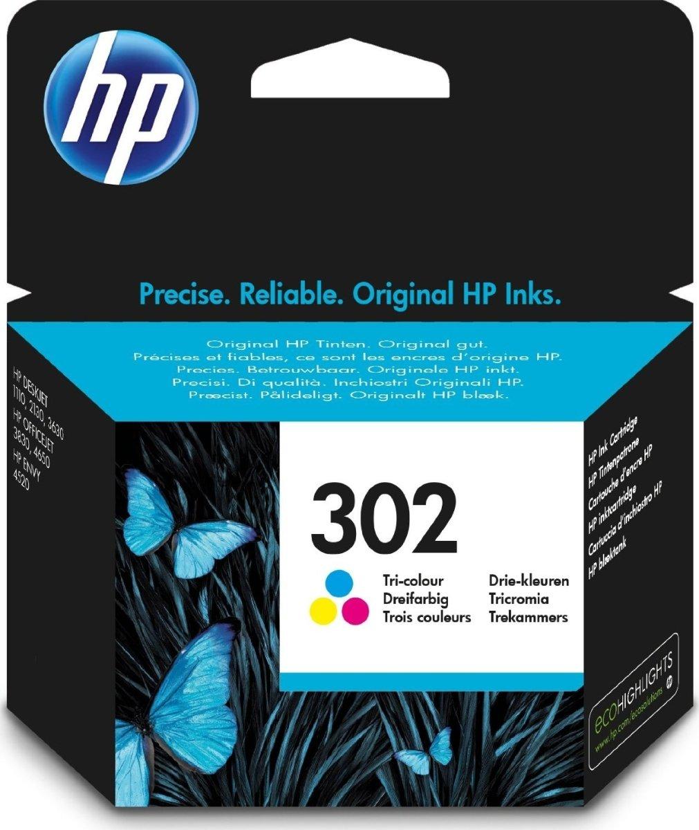 HP nr.302 blækpatron, farve, 165 s.