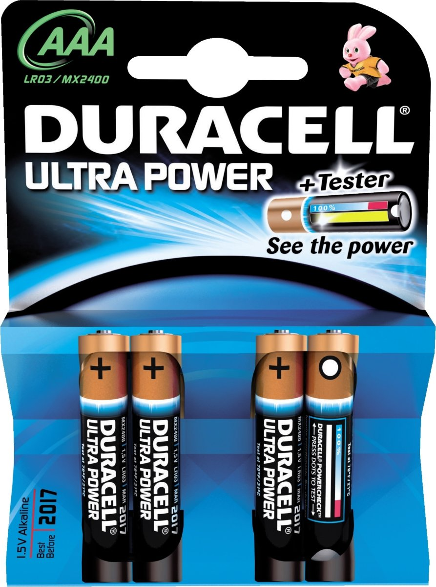 Duracell str. AAA Ultra batteri, 4 stk.