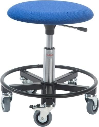 Montørstol m/ fodring, polstret sæde, blå
