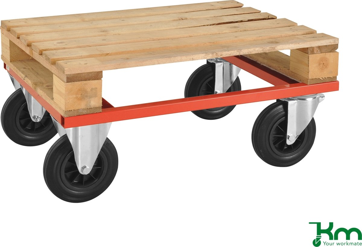 Palletransportvogn Lav, Halvpalle, Rød