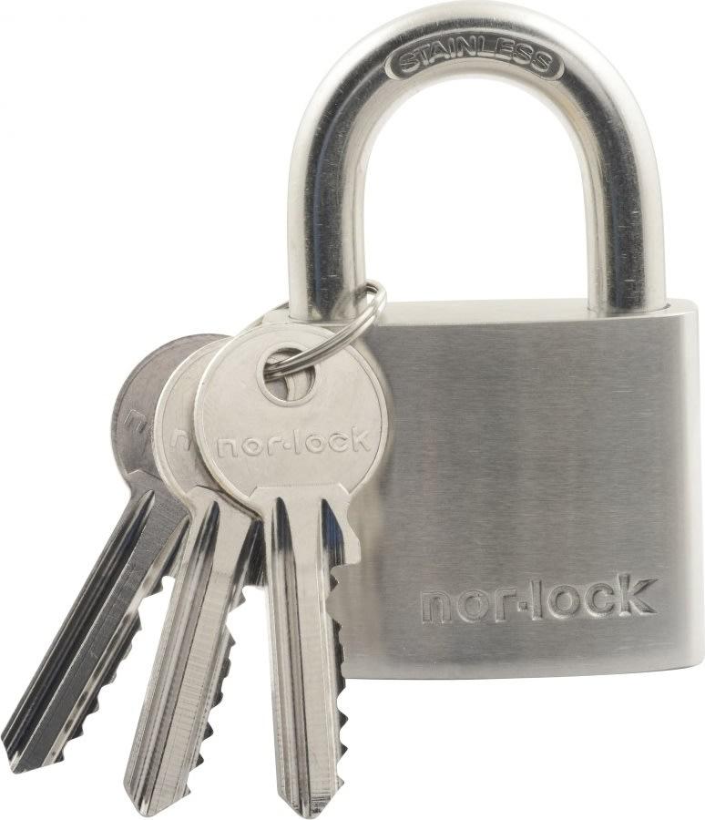 Nor-Lock hængelås m/nøgle i sølv, 50 mm