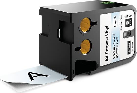 Dymo XTL, vinyltape, 41mm, sort på klar