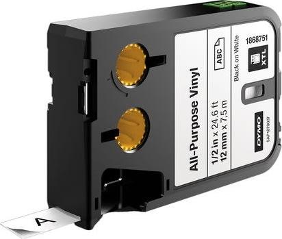 Dymo XTL, vinyltape, 12 mm, sort på hvid