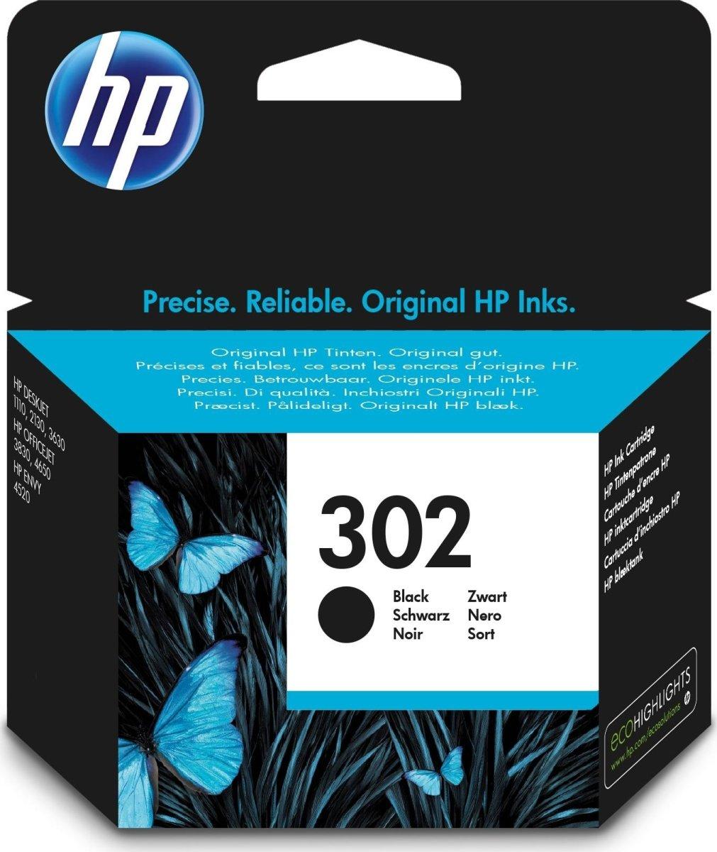 HP nr. 302 blækpatron, sort, 190 s.