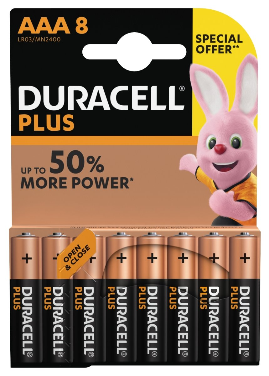 Duracell Plus Power AAA-batterier, 8 stk