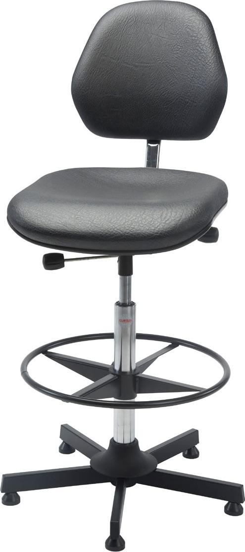 Aktiv arbejdsstol m/ fodring, sort, kunstlæder