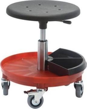 Montørstol, polstret sæde, nylonbase, sort