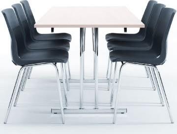 Bord med klapstel 80x180 cm, grå laminat