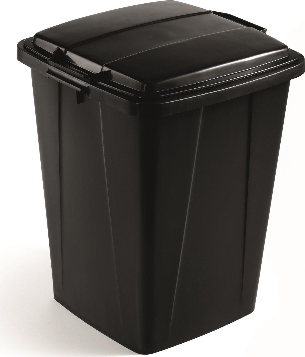 Låg affaldsspand 90 l, Sort