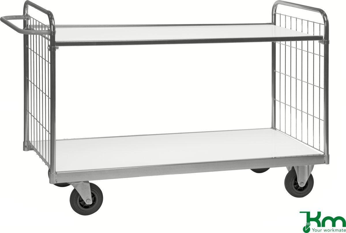 Bordvogn med gitter 2 plan, 139x65x102,5, 300 kg