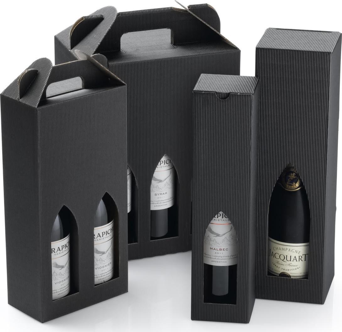 Gaveæske til vin, 6 flasker, sort