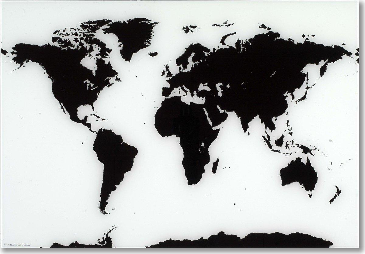 Glassboard magnetisk glastavle med verdenskort