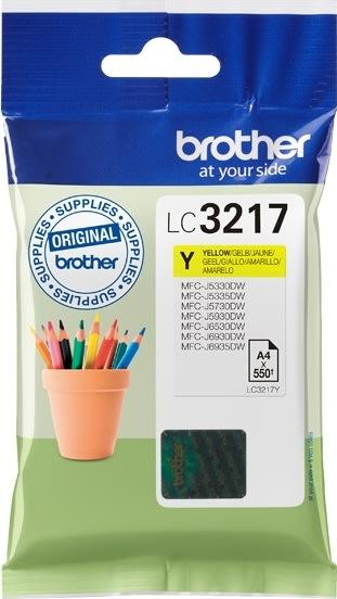 Brother LC3217Y blækpatron, gul, 550s