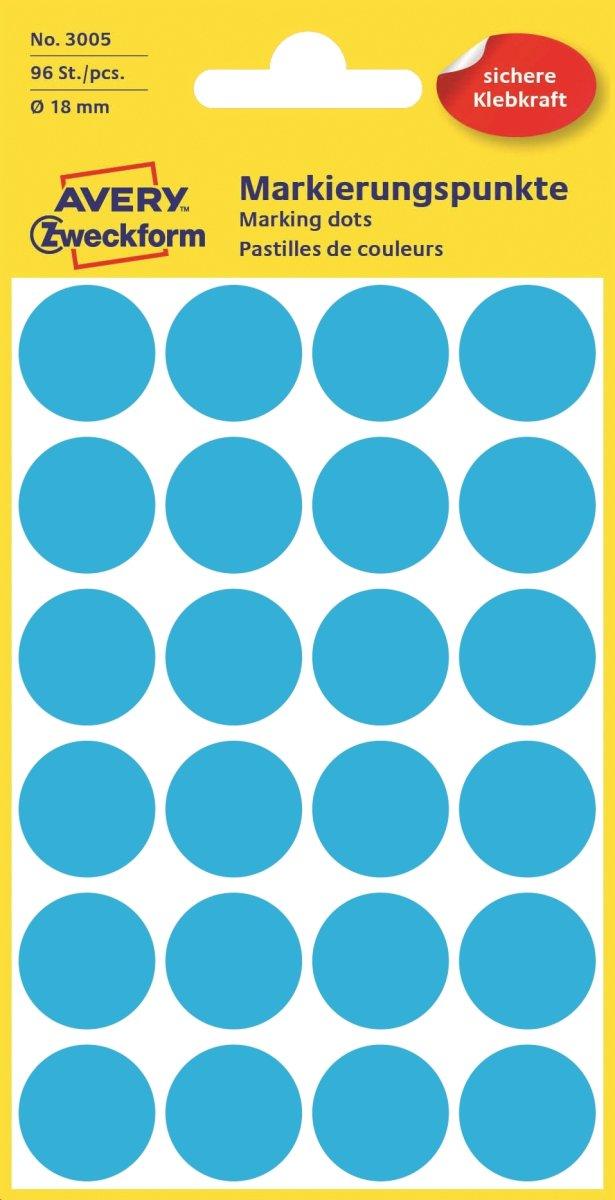 Avery 3005 manuelle etiketter, 18mm, 96 stk, blå