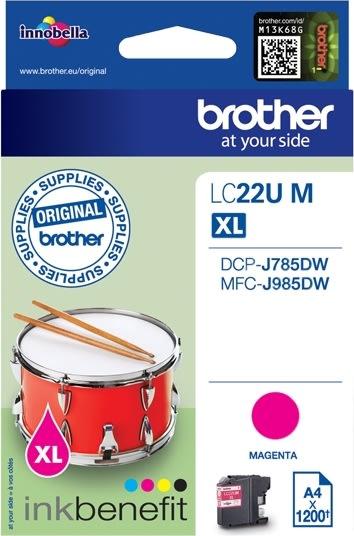 Brother LC22UM XL blækpatron, rød, 1200s