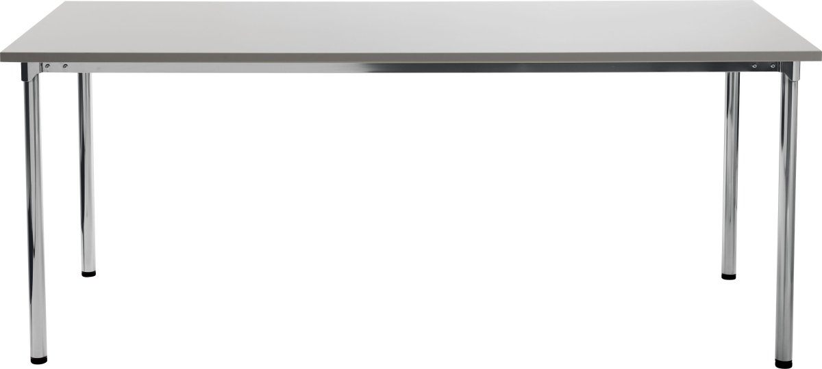 Eminent kantinebord 180x80 cm, grå laminat / krom
