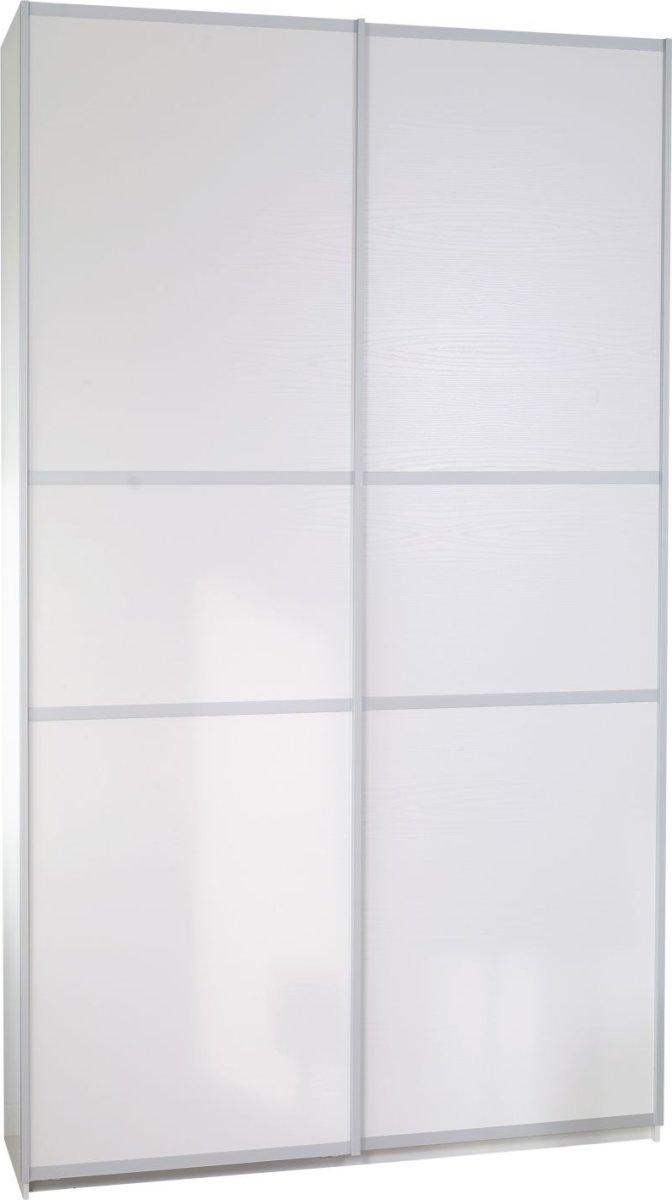 Garderobeskab m. skydedøre, Hvid struktur, B 120cm