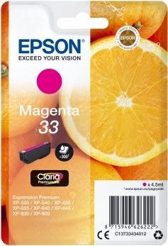 Epson C13T33434022 blækpatron, rød m/alarm