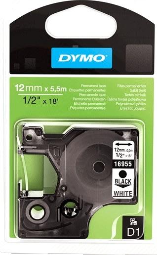Dymo D1 polyestertape 12 mm, sort på hvid