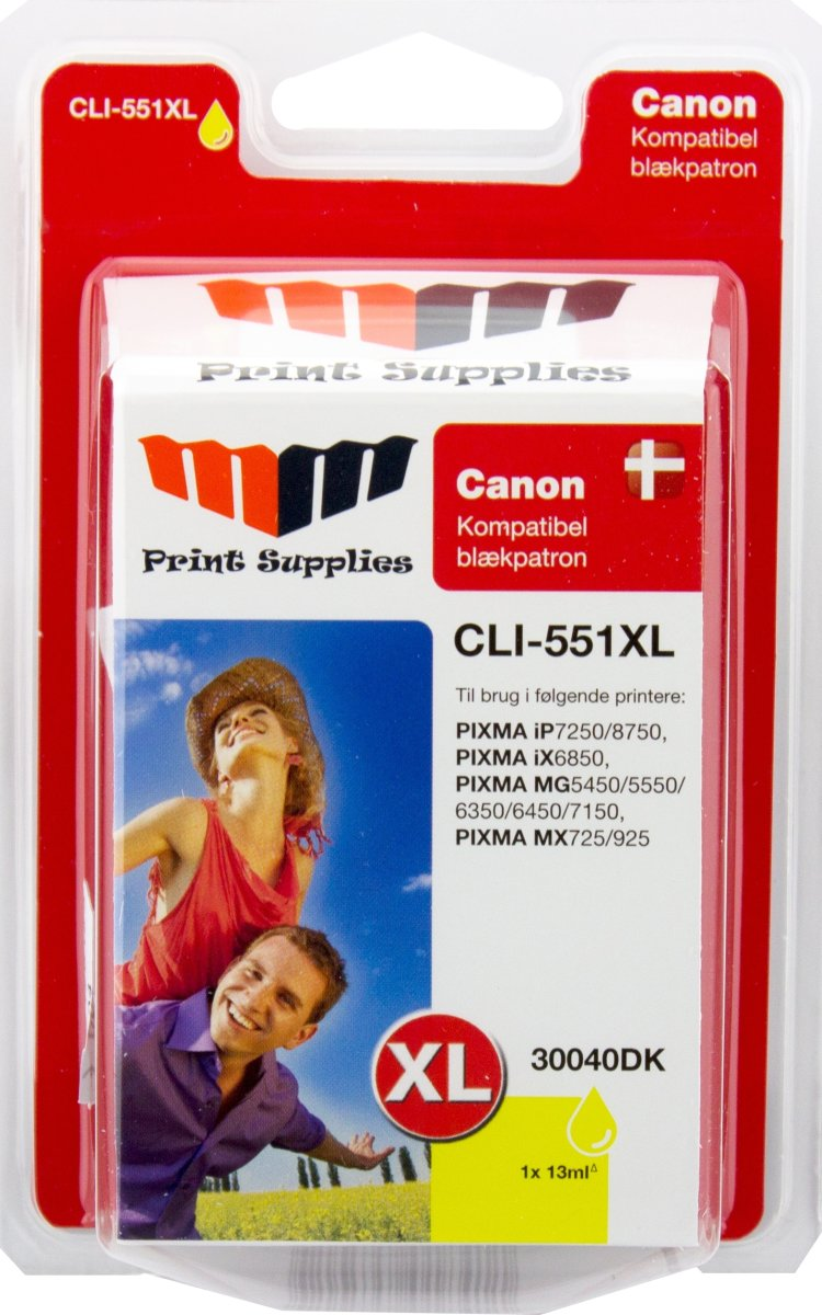 MM Gul blækpatron -  Canon CLI-551YXL