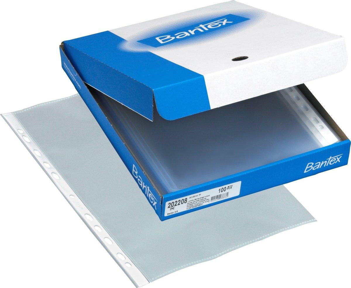 Bantex lomme A4, PP, 0.08mm, 100stk åben v/hulk.