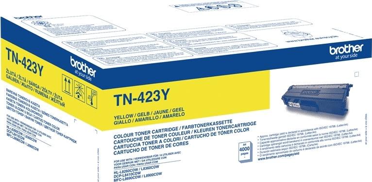 Brother TN-423Y XL Lasertoner, gul, 4000s