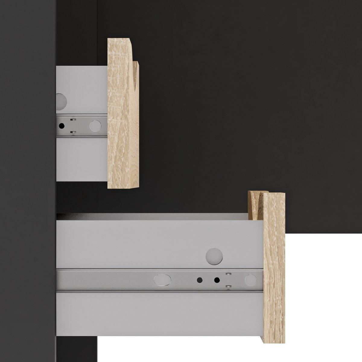 Ritzy Skrivebord, Mat grå/Eg, 145 cm