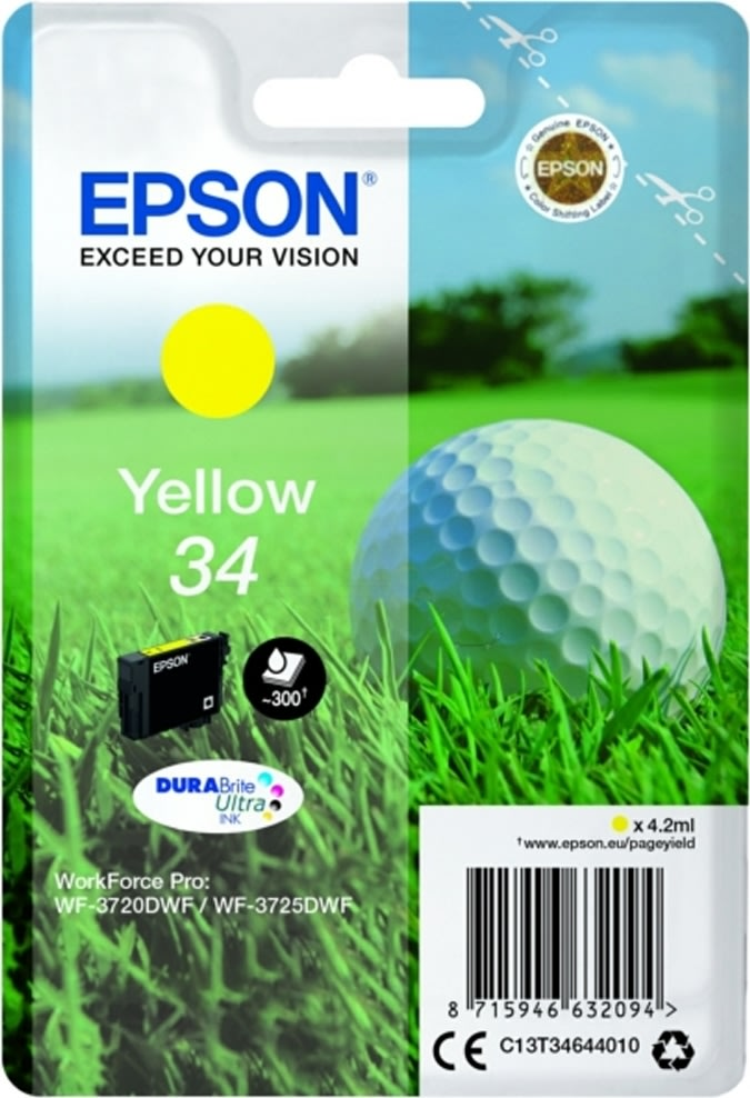 Epson 34 blækpatron, gul, 300s