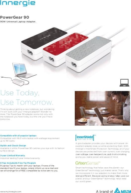 Innergie PowerGear 90, strømforsyning i hvid/sølv