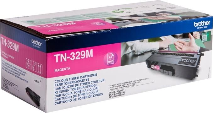 Brother TN329M Lasertoner, Magenta, 6.000s