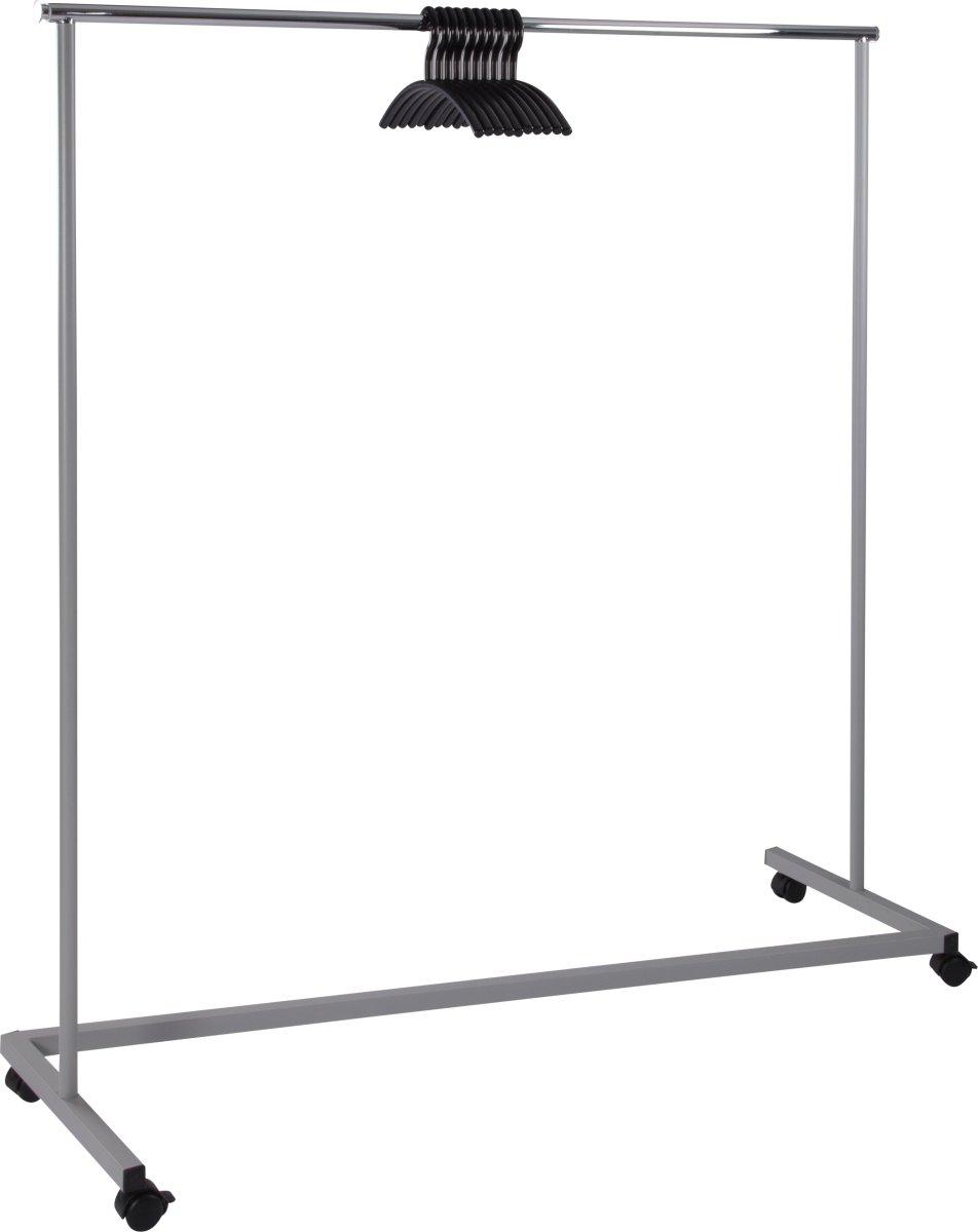 Rack 1 garderobestativ t/ 50 bøjler, sølvfarvet