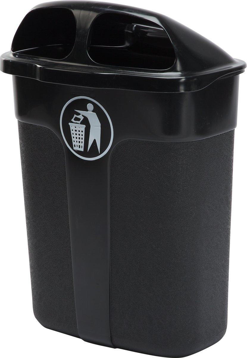Affaldsbeholder i sort, 60 liter - Udendørs