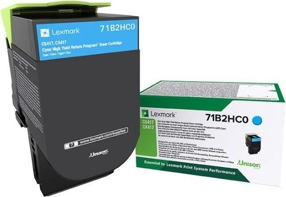 Lexmark 71B2HC0 Cyan tonerkassette, 3500 sider