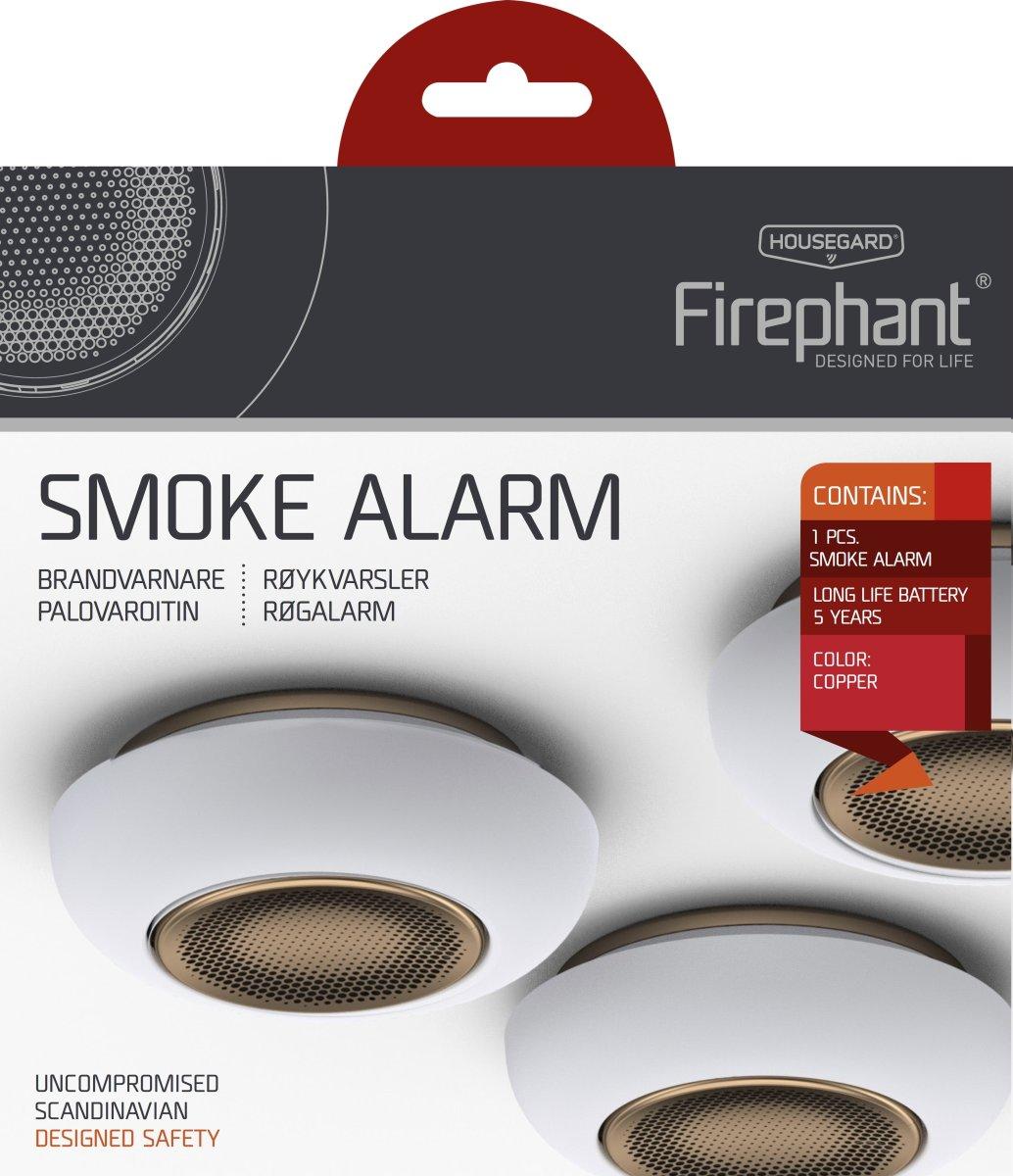 Housegard Firephant optisk røgalarm SA800S, kobber