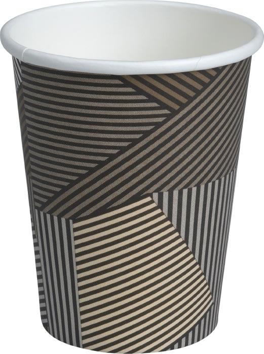 Kaffebæger 48 cl, pap, brun med striber