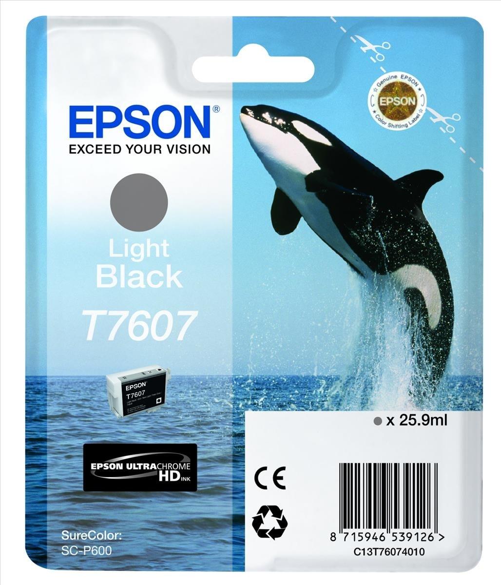 Epson T7607 blækpatron, Lys Sort, 25.9 ml.