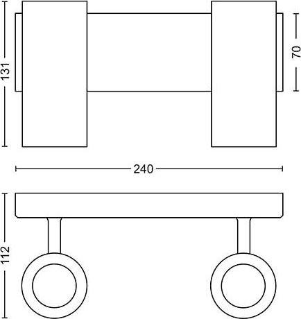 Philips HUE Buratto 2 x GU10 spot, hvid + kontakt