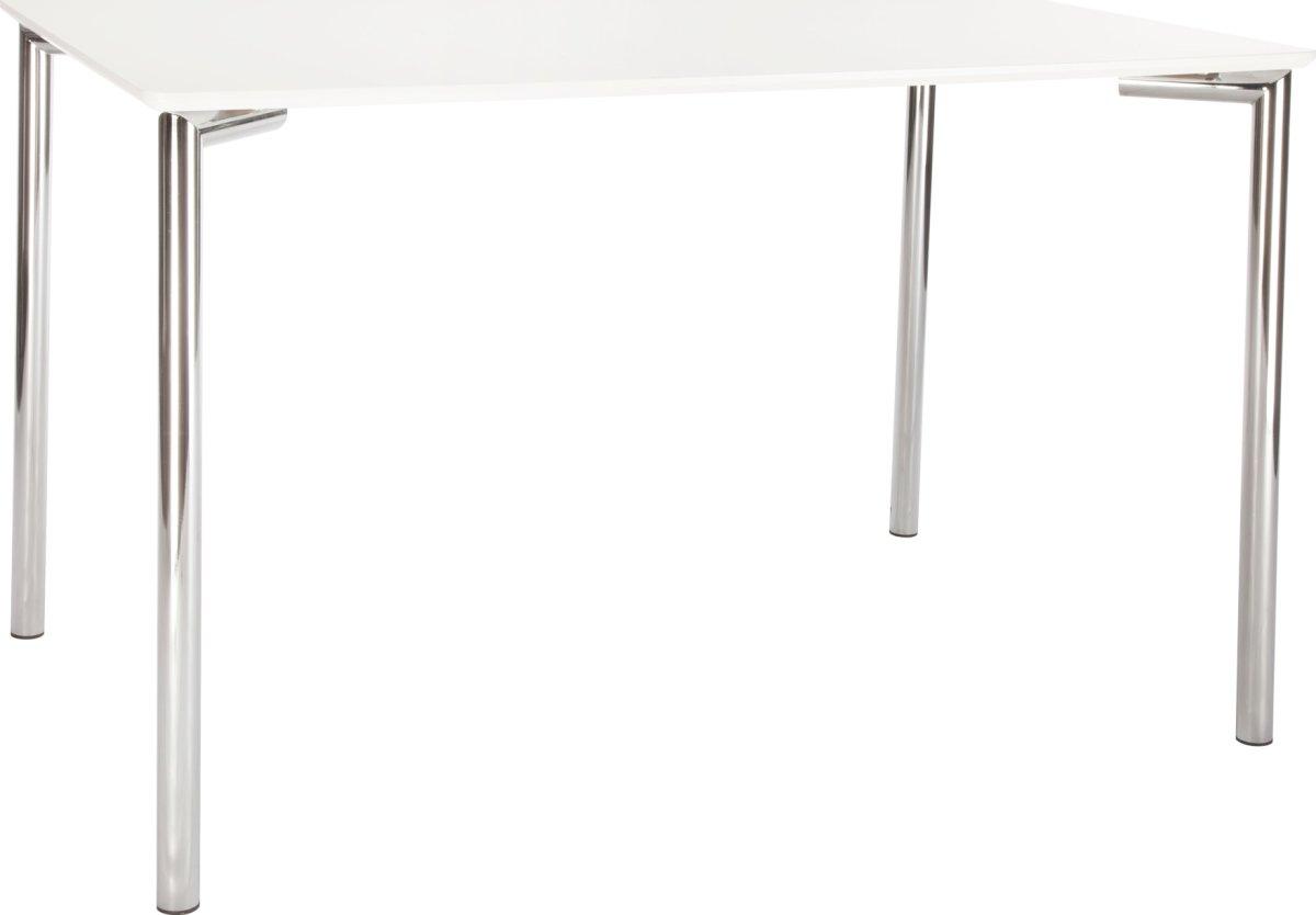 Square kantinebord 120x80 cm. hvid melamin/krom