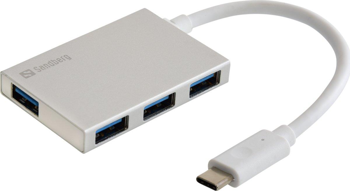 USB-C to 4 xUSB 3.0 Pocket Hub, White