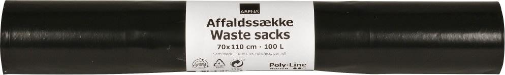 Supersækken affaldssække 100 liter, sort, 10 stk.