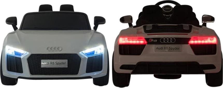 El-drevet Audi R8 Spyder mini-bil, hvid