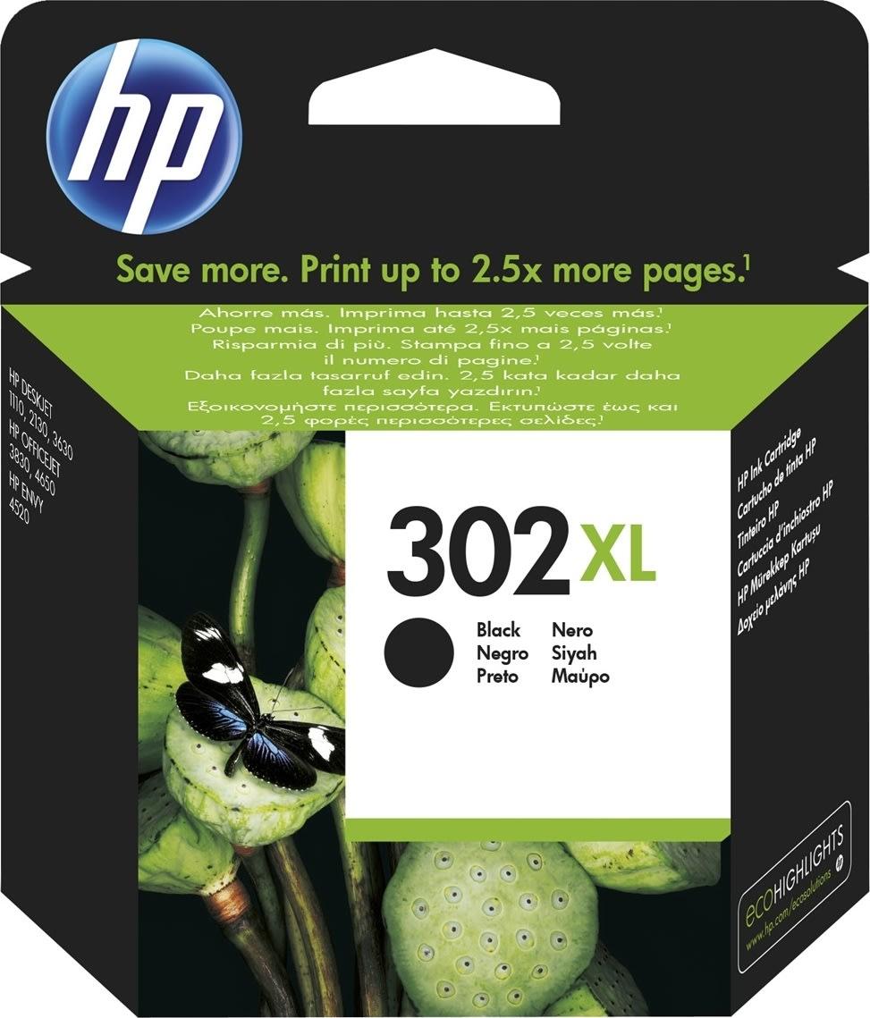 HP No302XL blækpatron, blister, sort, 480s