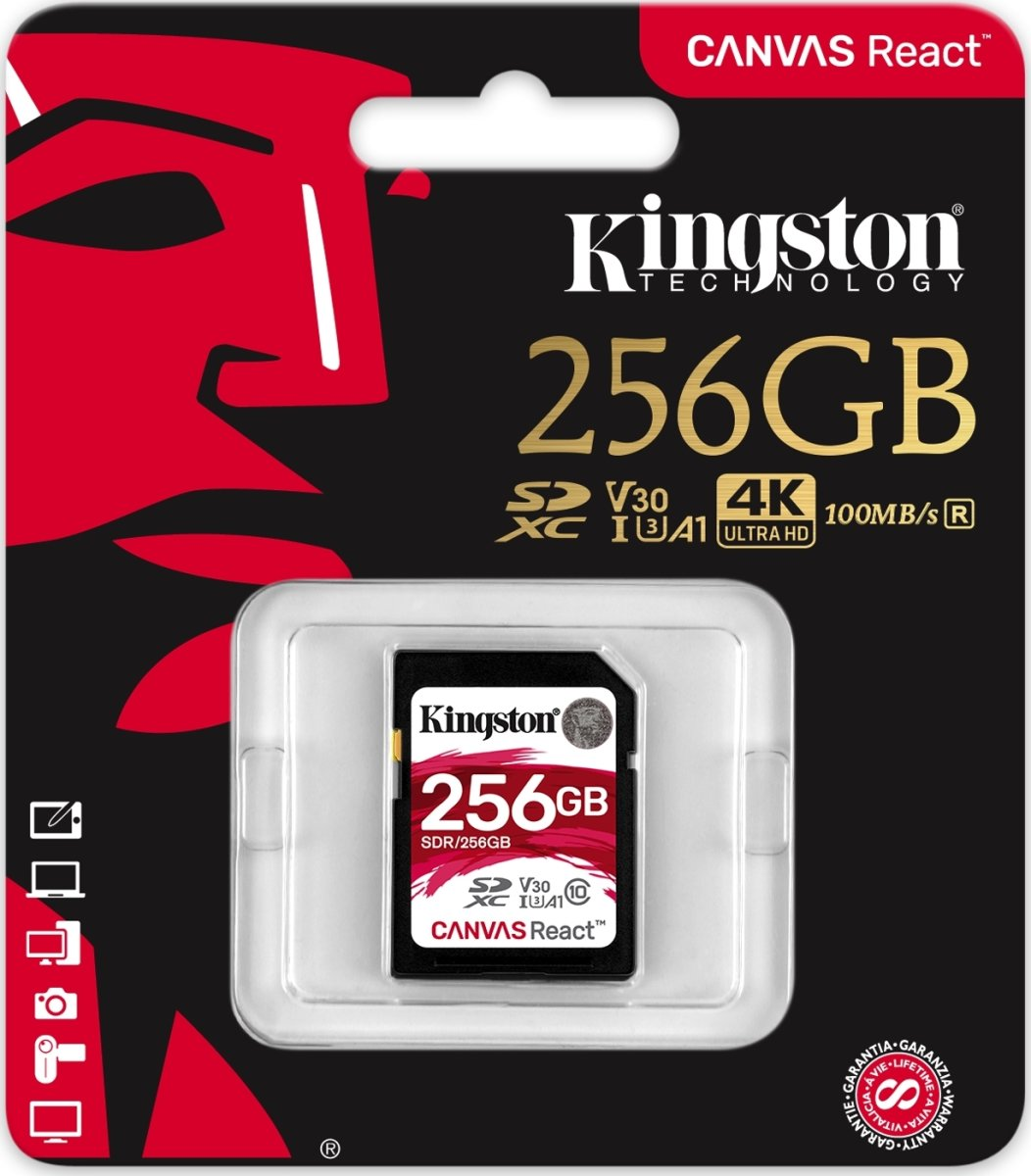Kingston Canvas React 256GB SDXC hukom.kort