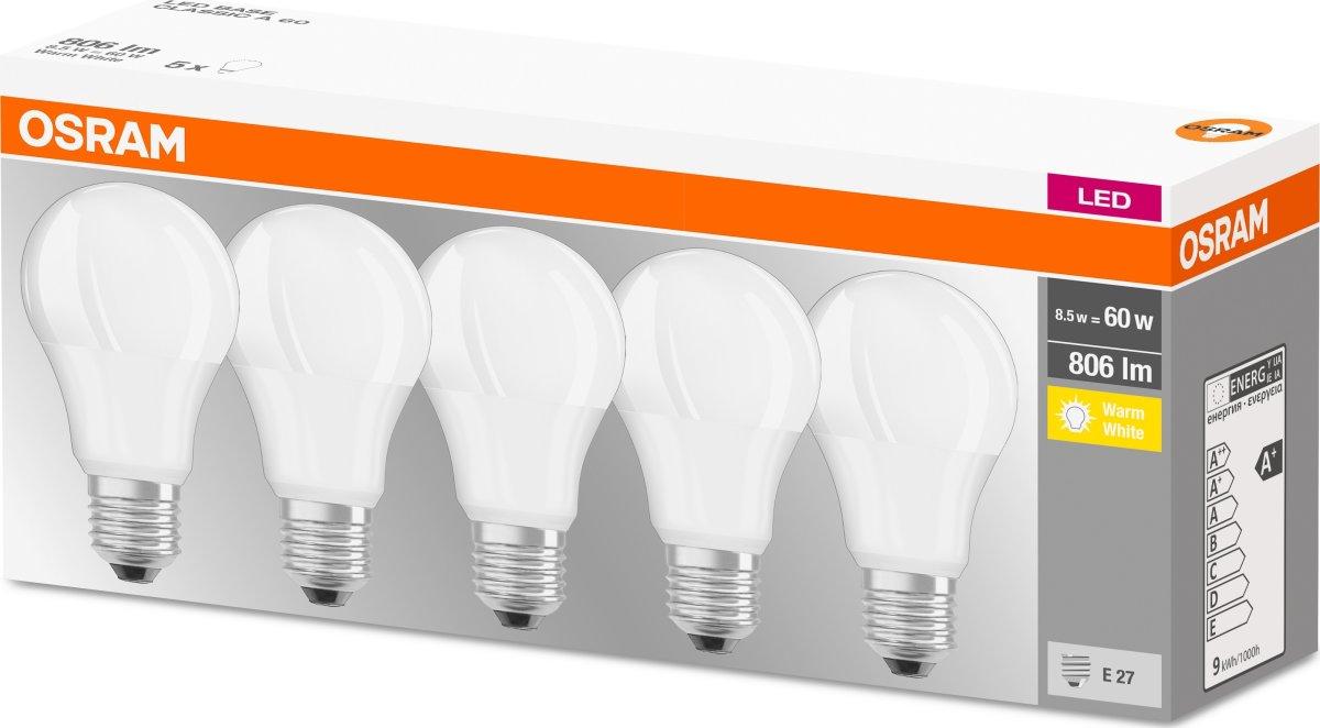 Osram LED Kronepære E27, 8,5W=60W 5-pak
