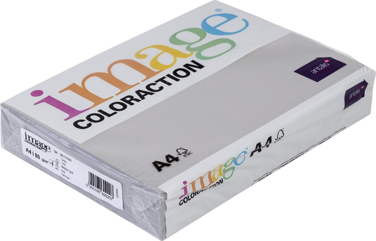 Image Coloraction A4, 80g, 500ark, mellemgrå