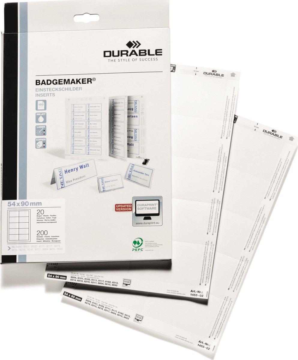Durable Indstik til navneskilt 54x90 mm, 200 stk