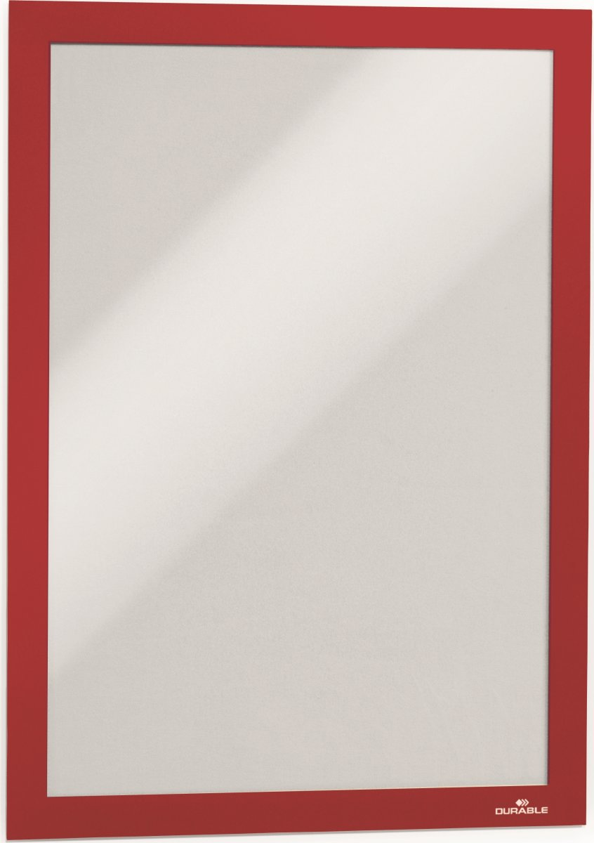 Durable Selvklæbende Inforamme A4, rød, 2 stk.