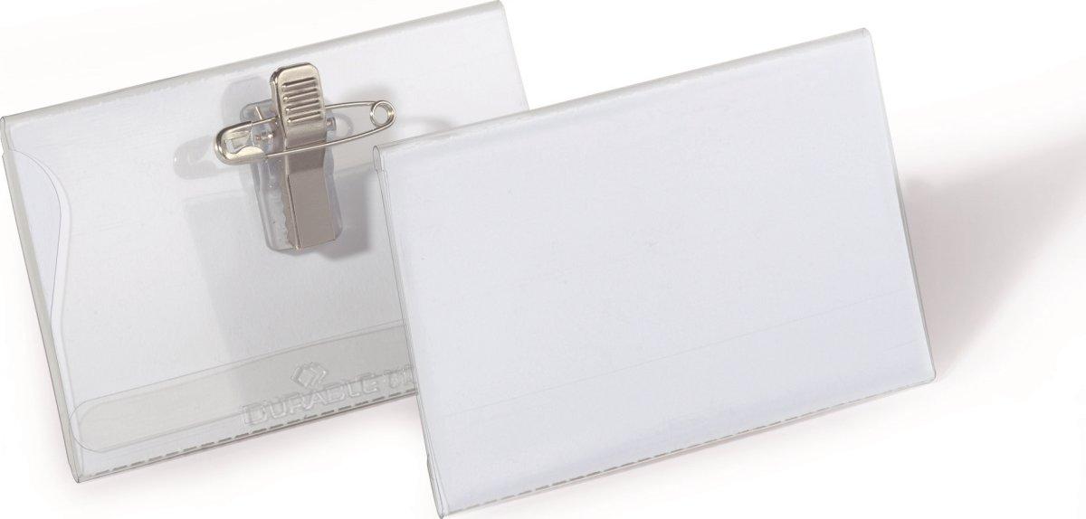 Durable Navneskilt m. nål/klemme 54 x 90 mm, 50stk