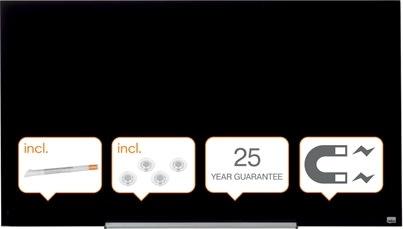 """Nobo Diamond glastavle, sort, 57"""" - 71,1 x 126 cm"""