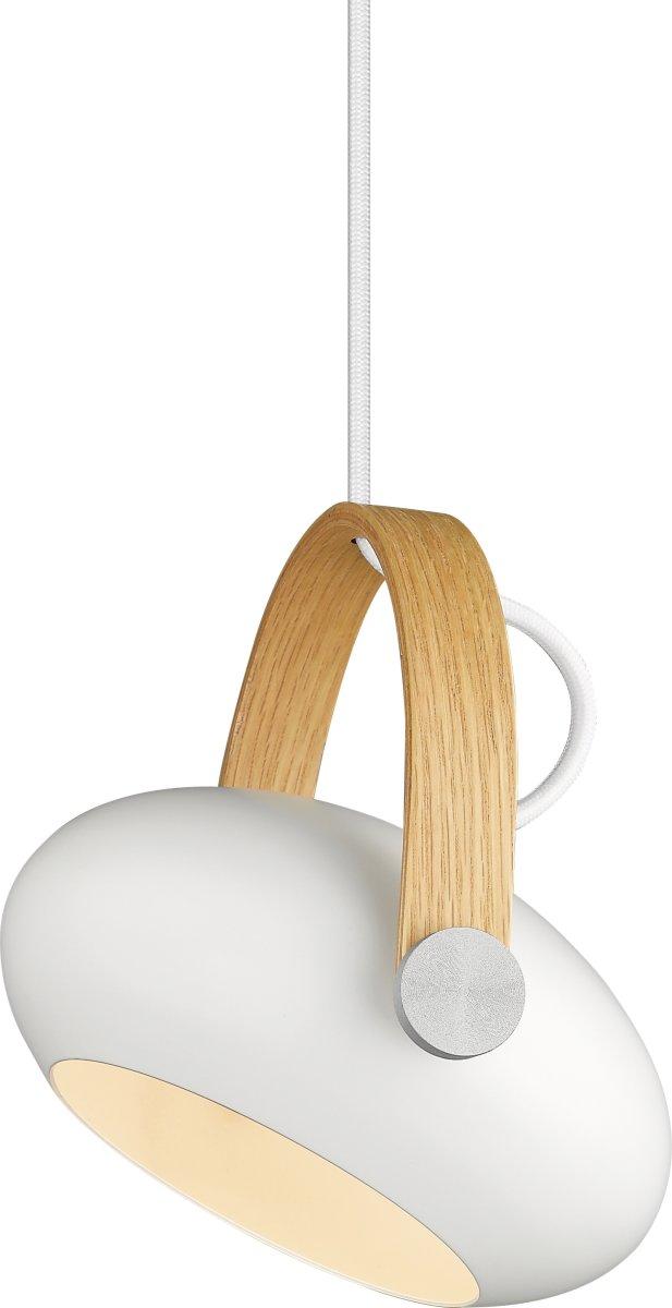 D.C Pendel med træbeslag, Ø18 cm, Hvid/Eg